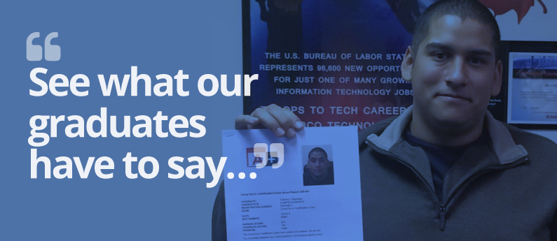 "Male graduate holding up his diploma or certification; text over the image reads ""see what our graduates have to say""; this is a testimonials page"